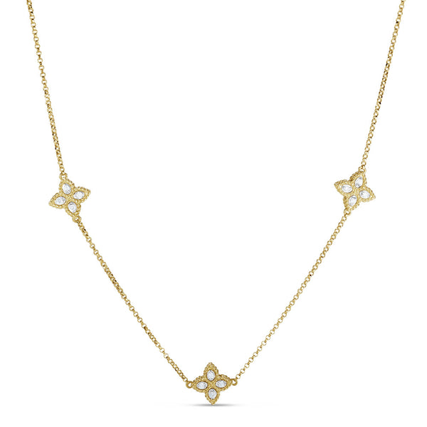 NECKLACE PRINCESS FLOWER IN GOLD WITH DIAMONDS