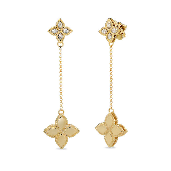 EARRINGS PRINCESS FLOWER IN GOLD WITH DIAMONDS