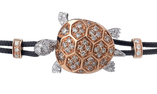BRACELET WITH TURTLE IN GOLD AND DIAMONDS