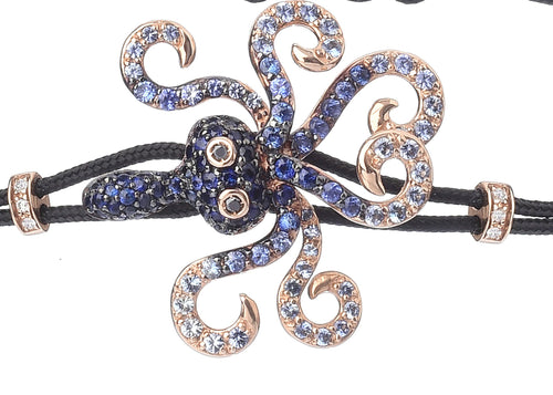 BRACELET WITH OCTOPUS IN GOLD AND BLUE SAPPHIRES