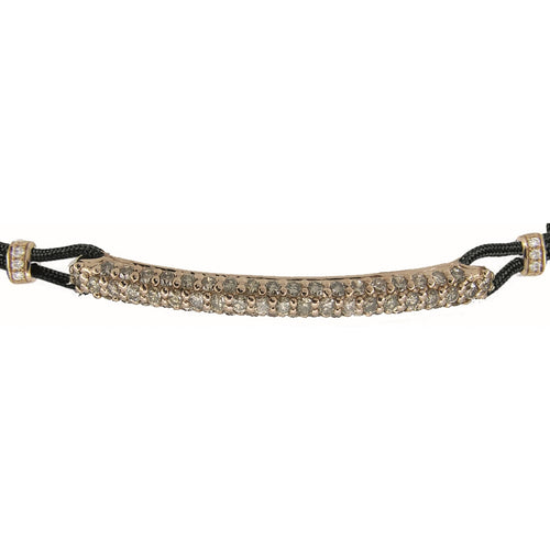 BRACELET WITH ROUNDED BAR IN GOLD AND DIAMONDS