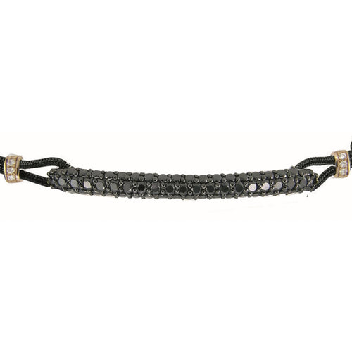 BRACELET WITH ROUNDED BAR IN GOLD AND BLACK DIAMONDS