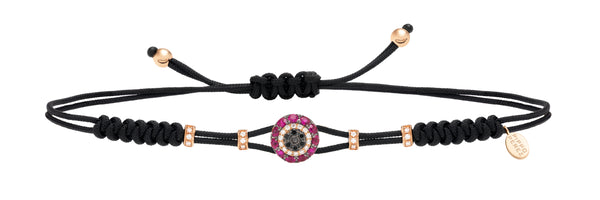 BRACELET WITH EVIL EYE IN GOLD WITH RUBIES