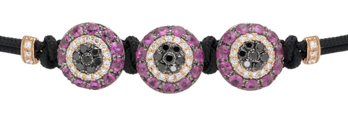 BRACELET WITH 3 EVIL EYES IN GOLD WITH PINK SAPPHIRES
