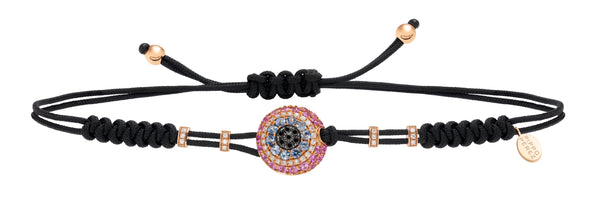 BRACELET WITH EVIL EYE IN GOLD WITH PINK SAPPHIRES