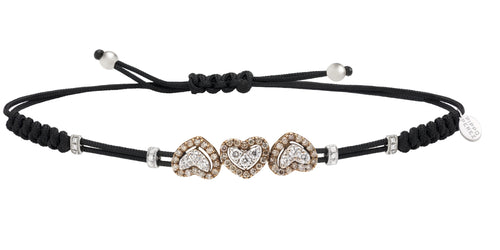 BRACELET WITH 3 HEARTS IN GOLD AND DIAMONDS