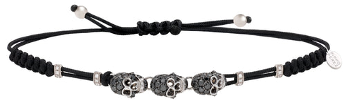 BRACELET WITH 3 SKULLS IN GOLD AND BLACK DIAMONDS