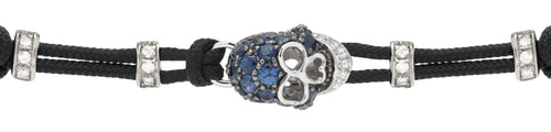 BRACELET WITH SKULL IN GOLD AND BLUE SAPPHIRES