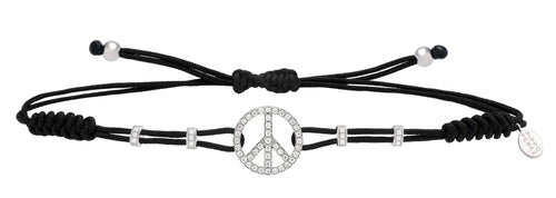 BRACELET WITH PEACE SIGN IN GOLD AND DIAMONDS