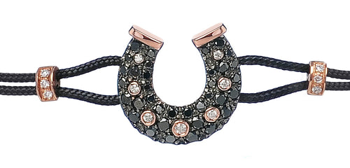 BRACELET WITH HORSESHOE IN GOLD AND BLACK DIAMONDS