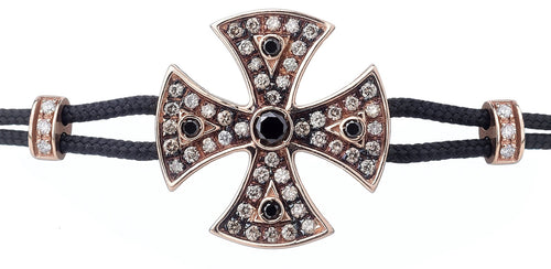 BRACELET WITH TEMPLAR CROSS IN GOLD WITH WHITE AND BLACK DIAMONDS