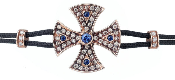 BRACELET WITH TEMPLAR CROSS IN GOLD WITH DIAMONDS AND BLUE SAPPHIRES