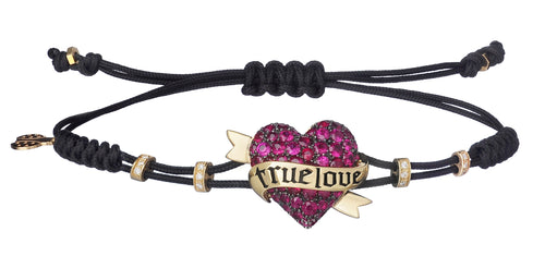 BRACELET WITH HEART IN GOLD WITH RUBIES