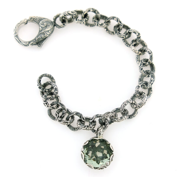 BRACELET IN STERLING SILVER WITH PRASIOLITE