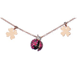 NECKLACE IN GOLD WITH RUBIES LADYBUG AND LUCKY CHARMS