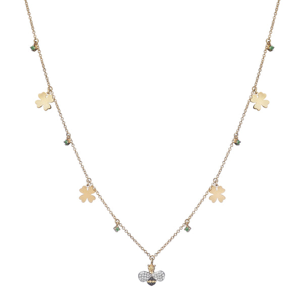NECKLACE IN GOLD WITH DIAMONDS BEE AND FOUR-LEAF CLOVER CHARMS