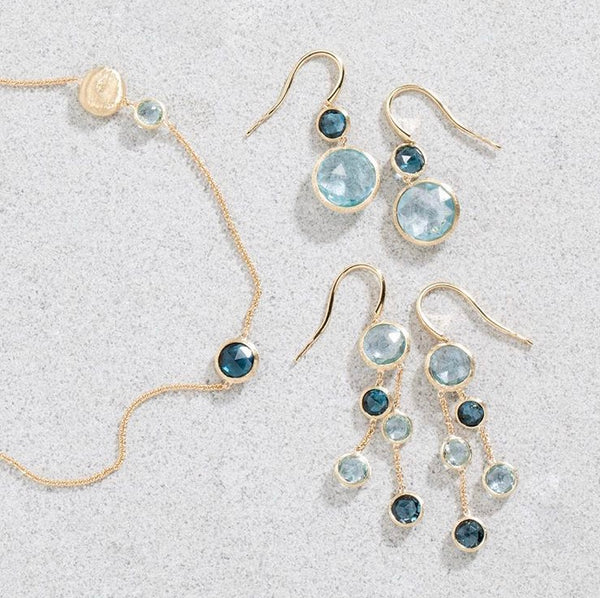 EARRINGS JAIPUR IN GOLD AND BLUE TOPAZ