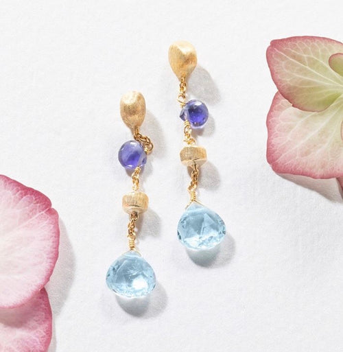 EARRINGS PARADISE IN GOLD WITH IOLITE AND BLUE TOPAZ
