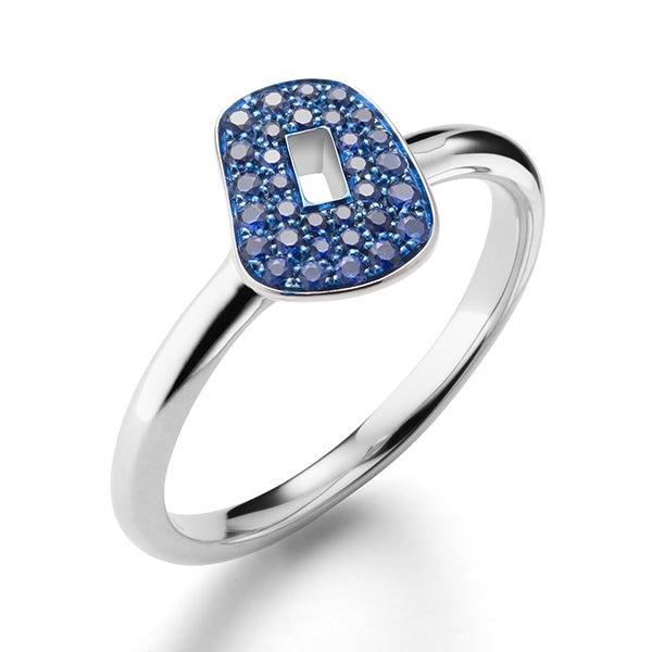 RING PUZZLE IN GOLD WITH BLUE SAPPHIRES
