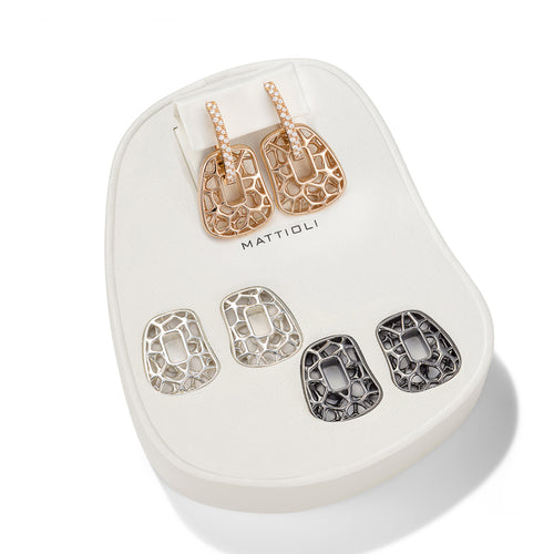 EARRINGS PUZZLE IN GOLD WITH DIAMONDS AND INTERCHANGEABLE PENDANTS