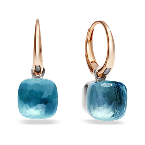 EARRINGS NUDO IN GOLD WITH BLUE TOPAZ