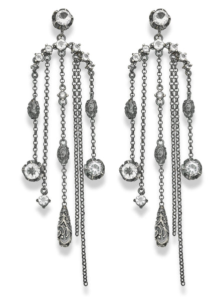 EARRINGS CHANDELIER IN STERLING SILVER AND ROCK CRYSTALS
