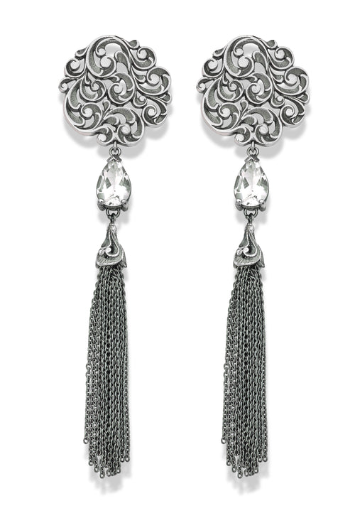 EARRINGS IN STERLING SILVER WITH ROCK CRYSTALS