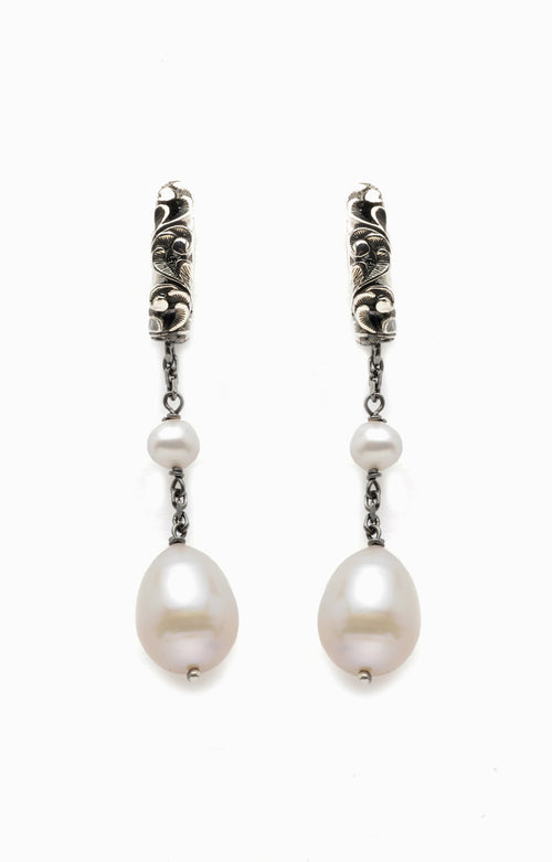EARRINGS IN STERLING SILVER WITH PEARLS