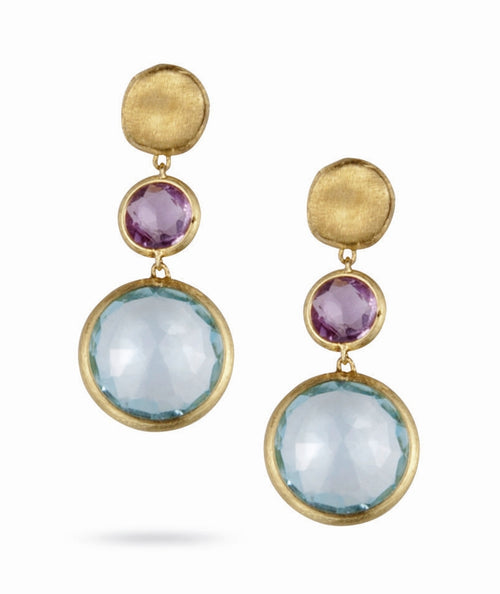 EARRINGS JAIPUR IN GOLD WITH AMETHYST AND BLUE TOPAZ
