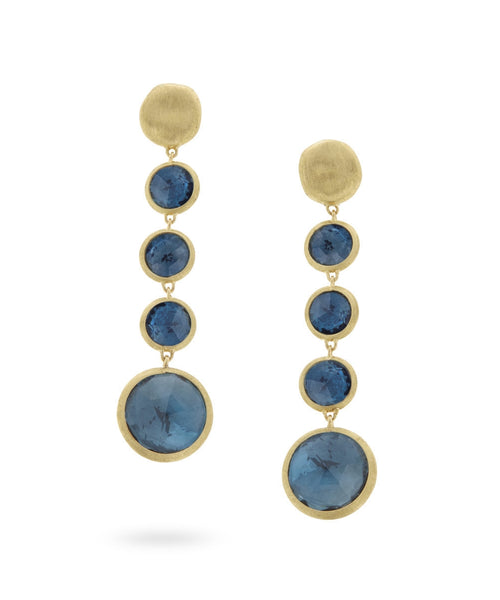EARRINGS IN GOLD WITH LONDON BLUE TOPAZ