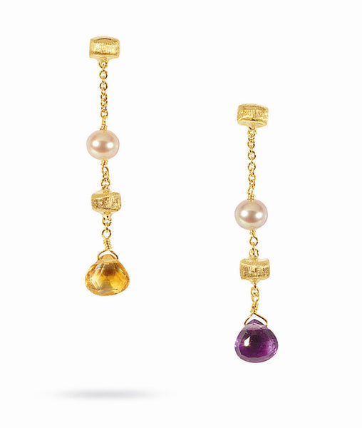 EARRINGS IN GOLD WITH PEARLS AND SEMIPRECIOUS STONES