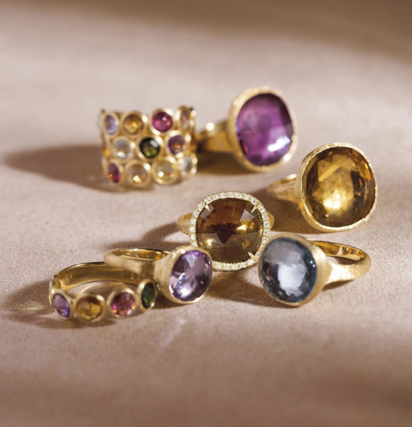 RING IN GOLD WITH SEMIPRECIOUS STONES