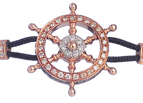 BRACELET WITH HELM IN GOLD AND BROWN,WHITE AND BLACK DIAMONDS