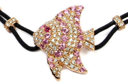 BRACELET WITH ANGELFISH IN GOLD WITH PINK SAPPHIRES AND DIAMONDS