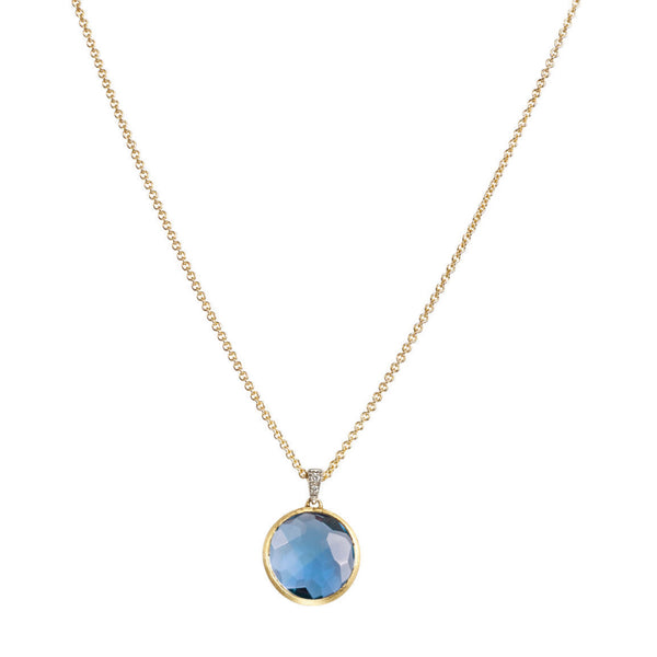 NECKLACE DELICATI IN GOLD WITH BLUE TOPAZ AND DIAMONDS