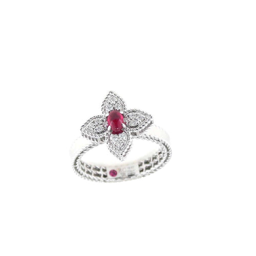 RING PRINCESS FLOWER IN GOLD WITH RUBY AND DIAMONDS