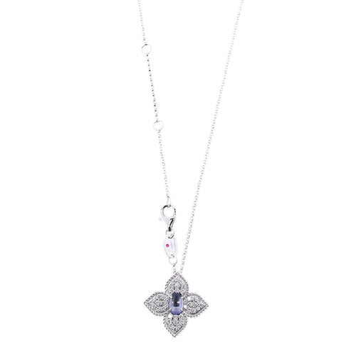 NECKLACE PRINCESS FLOWER IN GOLD WITH TANZANITE AND DIAMONDS