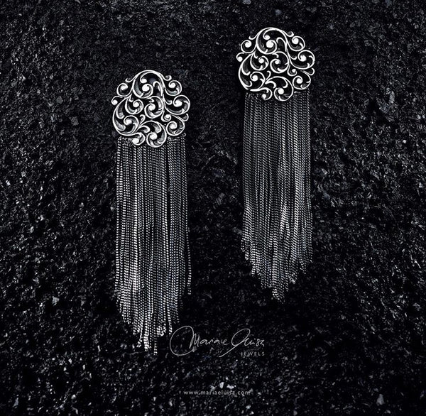 EARRINGS IN STERLING SILVER WITH FRINGES