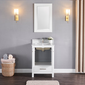 "M1901-24-01 Matt White 24"" Bathroom Vanity Cabinet and Sink Combo Solid Wood Cabinet+Real Marble Top+ Marble backsplash w/Sink set"