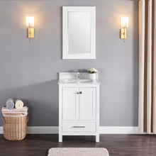 "1901-24-01 Matt White 24"" Bathroom Vanity Cabinet and Sink Combo Solid Wood Cabinet+Real Marble Top+ Marble backsplash w/Sink set"