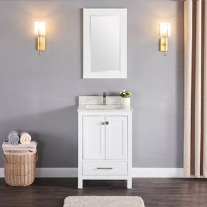 "1901-24-01QZ Matt White 24"" Bathroom Vanity Cabinet and Sink Combo Solid Wood Cabinet+Quartz Top with 4"" backsplash w/Sink set"