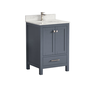 "1901-24-02QZ Dark Grey 24"" Bathroom Vanity Cabinet and Sink Combo Solid Wood Cabinet+Quartz Top+ backsplash w/Sink Mirror set"