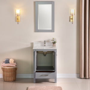 "1901-24-03QZ Light Grey 24"" Bathroom Vanity Cabinet and Sink Combo Solid Wood Cabinet+Quartz Top and  backsplash w/Sink Mirror set"