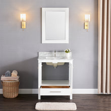 "1901-30-01 Matt White 30"" Bathroom Vanity Cabinet and Sink Combo Solid Wood Cabinet+Real Marble Top+ Marble backsplash w/Sink set"