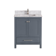 "1901-30-02QZ Dark Grey 30"" Bathroom Vanity Cabinet and Sink Combo Solid Wood Cabinet+Quartz Top+ Quartz backsplash w/Sink set"