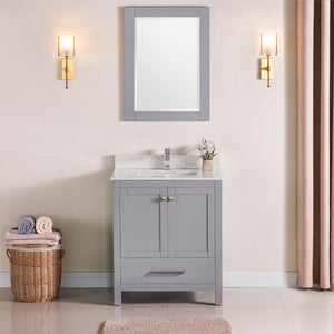 "1901-30-03QZ Light Grey 30"" Bathroom Vanity Cabinet and Sink Combo Solid Wood Cabinet+Quartz Top+ Quartz backsplash w/Sink set"