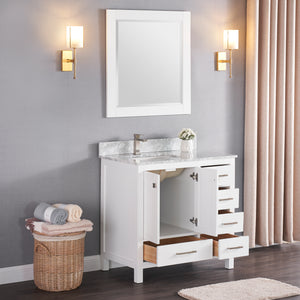 "1901-36L-01 Matt White 36"" Bathroom Vanity Cabinet and Left Side Sink Combo Solid Wood Cabinet+Real Marble Top+ Marble backsplash w/Sink set"