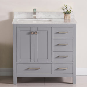 "1901-36L-03QZ  Light Grey 36"" Bathroom Vanity Cabinet and Left Side Sink Combo Solid Wood Cabinet+Quartz Top and backsplash w/Sink set"