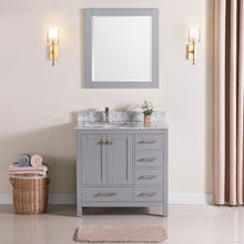 "1901-36L-03 Light Grey 36"" Bathroom Vanity Cabinet and Left Side Sink Combo Solid Wood Cabinet+Real Marble Top+ Marble backsplash w/Sink set"