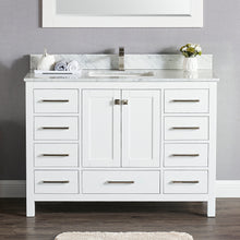 "1901-48-01 Matt White 48"" Bathroom Vanity Cabinet and Sink Combo Solid Wood Cabinet+Real Marble Top+ Marble backsplash w/Sink set"